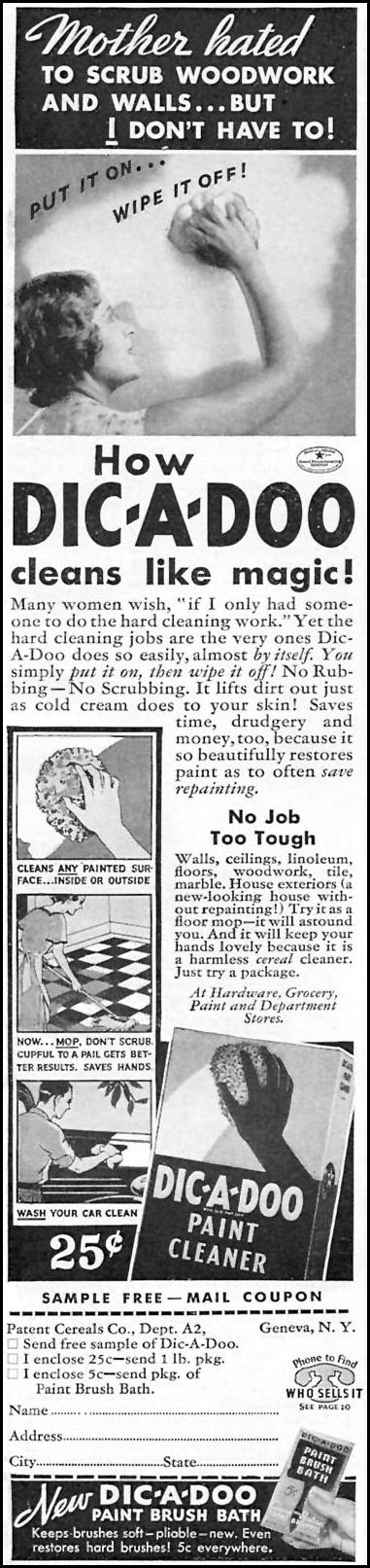 DIC-A-DOO PAINT CLEANER GOOD HOUSEKEEPING 04/01/1936