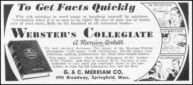 WEBSTER'S COLLEGIATE DICTIONARY NEWSWEEK 11/09/1935 p. 40