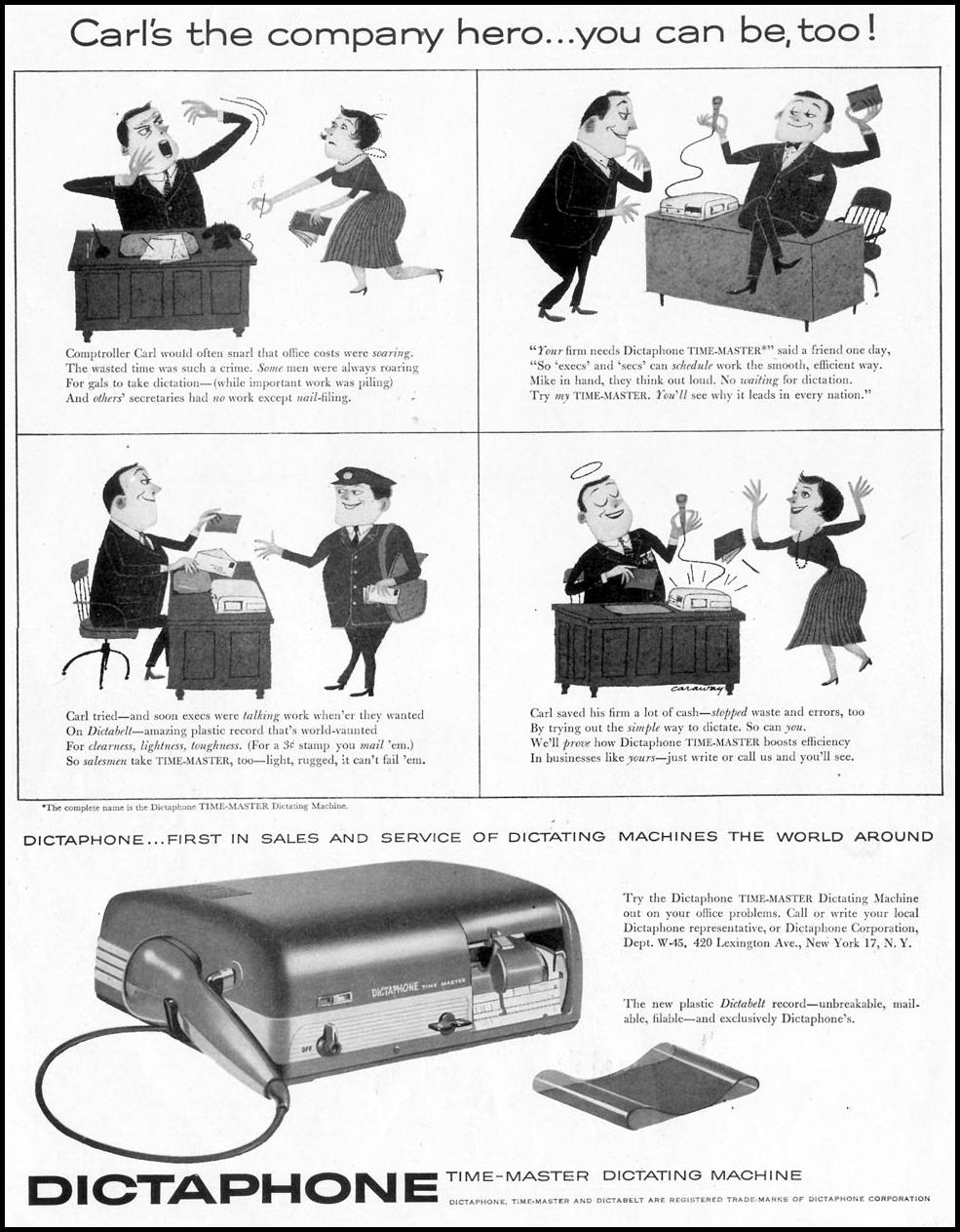 DICTAPHONE DICTATING MACHINE SATURDAY EVENING POST 04/09/1955 p. 82