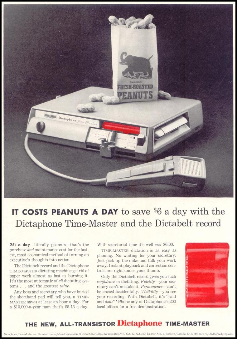 ALL-TRANSISTOR DICTAPHONE TIME-MASTER SATURDAY EVENING POST 08/15/1959 p. 67