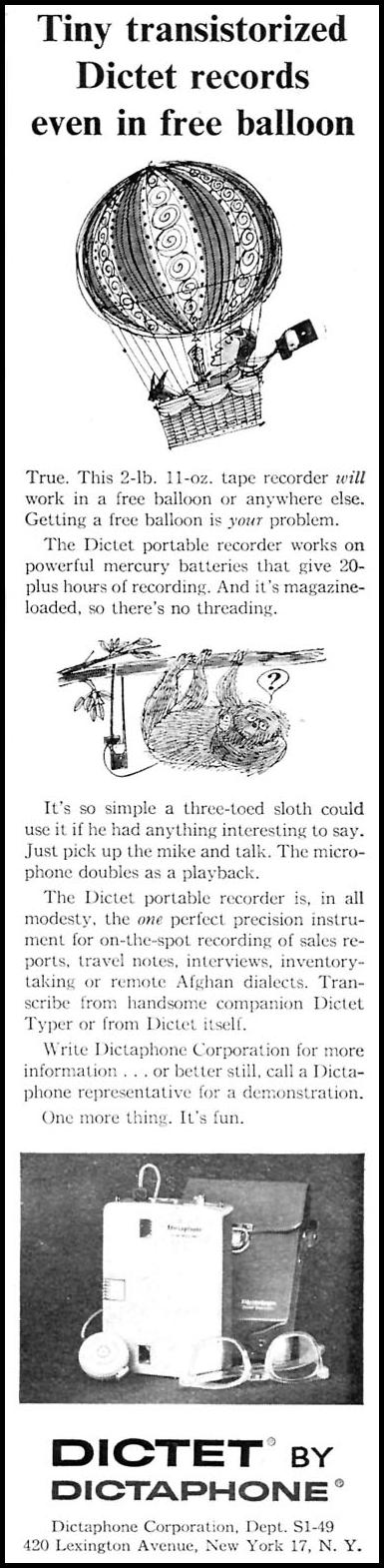 DICTAPHONE DICTET RECORDER SPORTS ILLUSTRATED 04/27/1959 p. 13