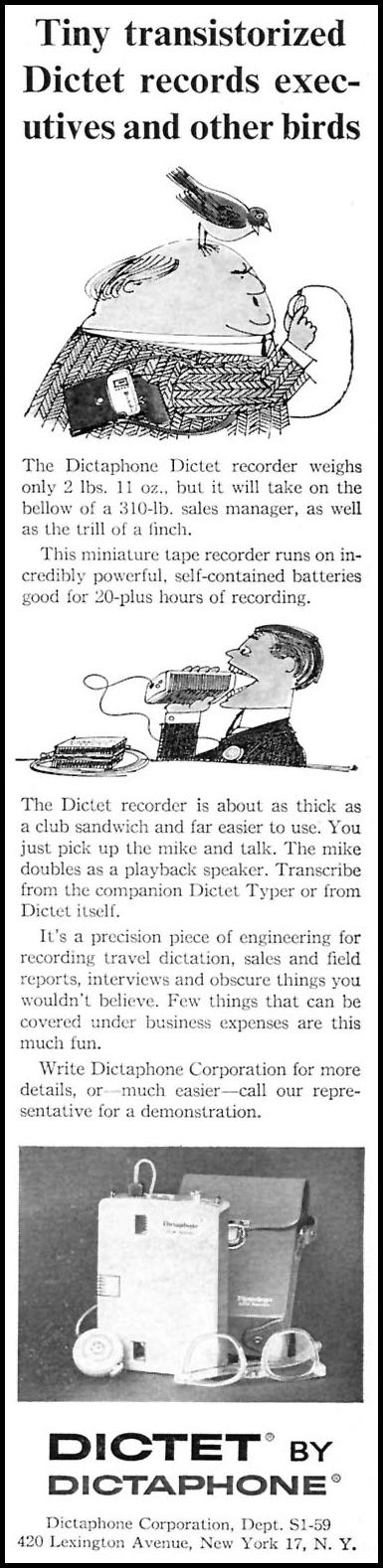 DICTAPHONE DICTET RECORDER SPORTS ILLUSTRATED 05/25/1959 p. 59
