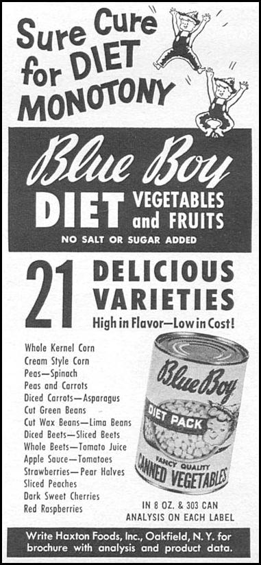 BLUE BOY DIET FRUITS AND VEGTABLES WOMAN'S DAY 04/01/1956 p. 114