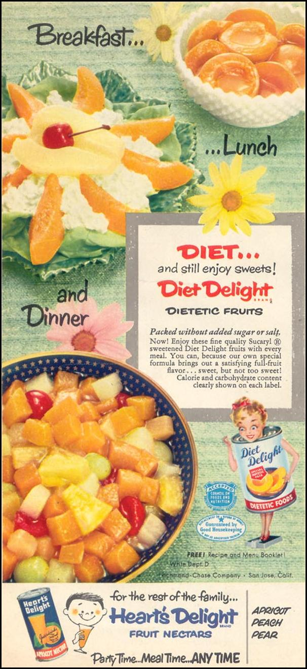 DIET DELIGHT DIETETIC FRUITS WOMAN'S DAY 10/01/1954 p. 24