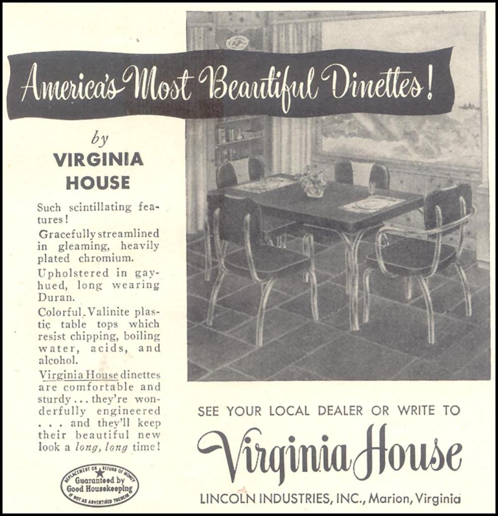 VIRGINIA HOUSE DINETTES GOOD HOUSEKEEPING 07/01/1948 p. 229