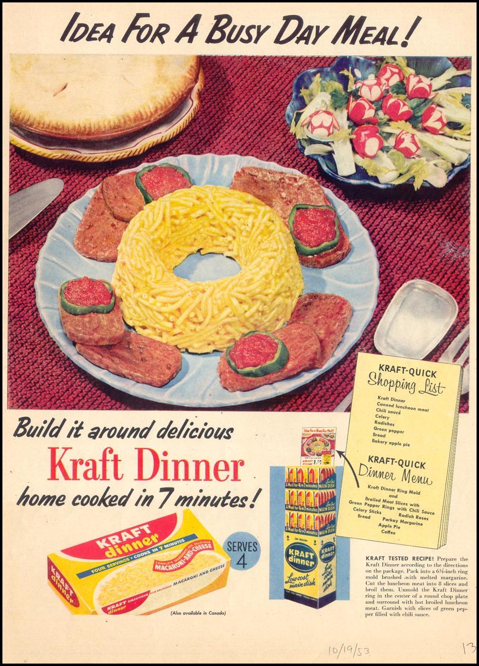 KRAFT DINNER LIFE 10/19/1953 p. 13
