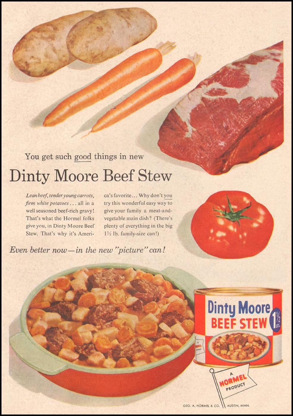 DINTY MOORE BEEF STEW GOOD HOUSEKEEPING 05/01/1957 p. 209
