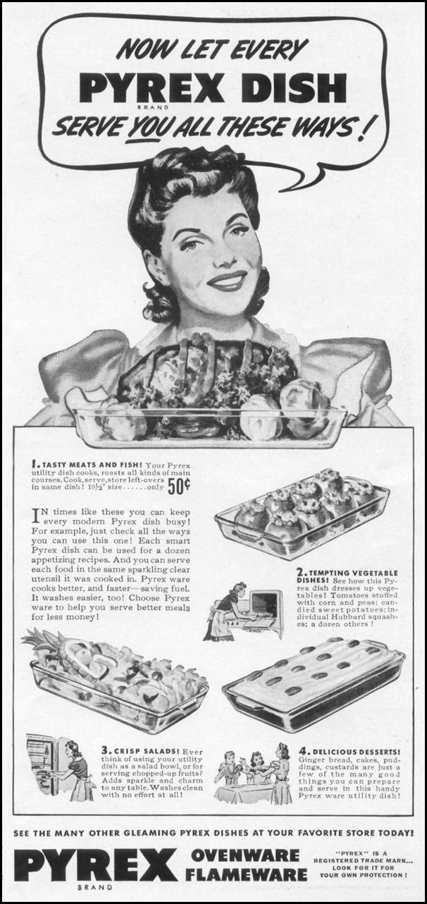 PYREX OVENWARE WOMAN'S DAY 09/01/1942 p. 53