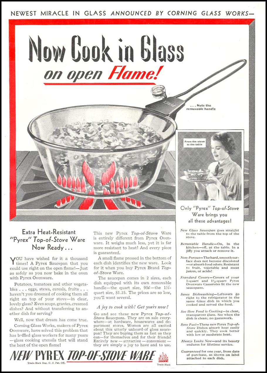 PYREX TOP-OF-STOVE WARE GOOD HOUSEKEEPING 04/01/1936 p. 165