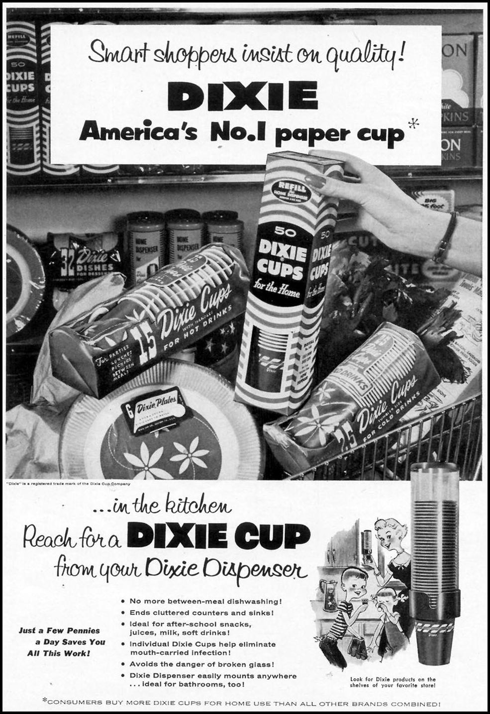 DIXIE CUPS WOMAN'S DAY 07/01/1955 p. 106