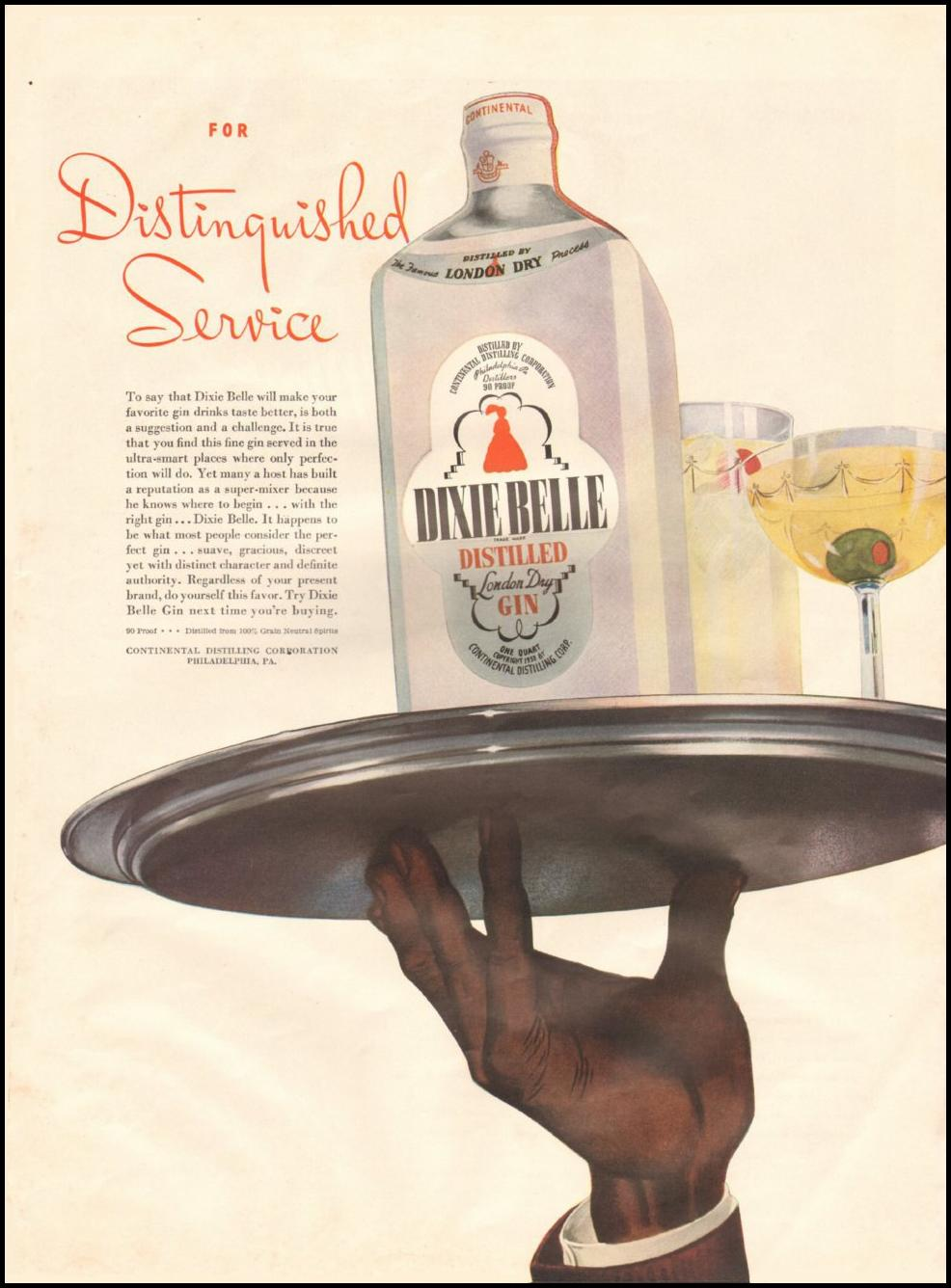 DIXIE BELLE DISTILLED GIN LIFE 06/22/1942