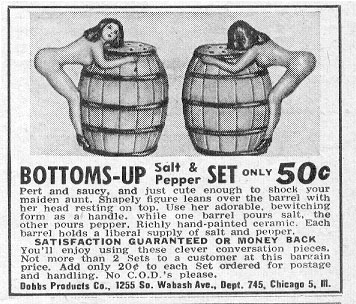 BOTTOMS-UP SALT & PEPPER SET PHOTOPLAY 08/01/1956 p. 91