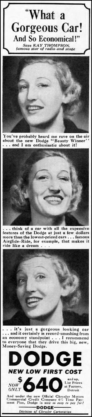 DODGE AUTOMOBILES BETTER HOMES AND GARDENS 05/01/1936 p. 90