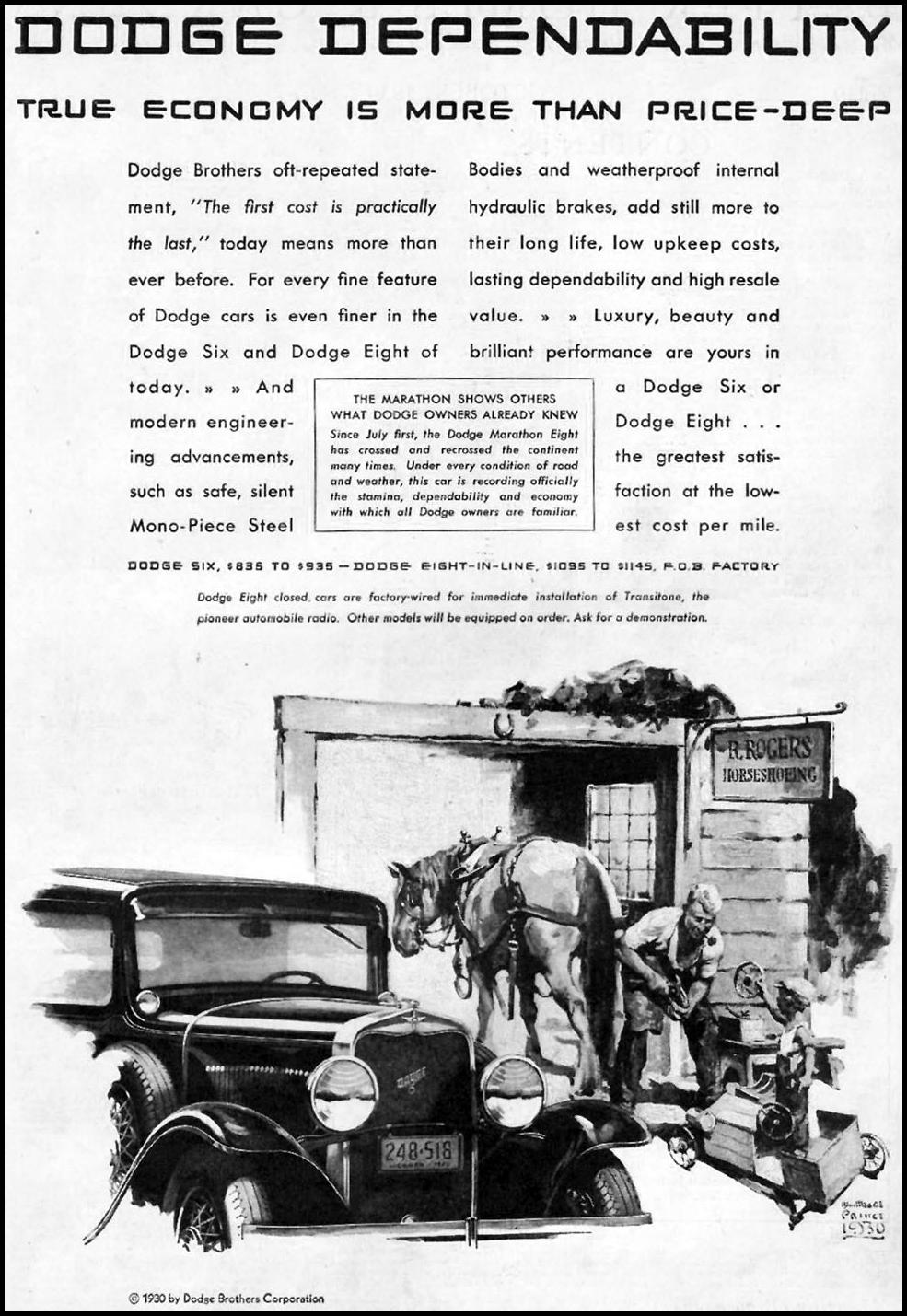 DODGE AUTOMOBILES BETTER HOMES AND GARDENS 10/01/1930 p. 3