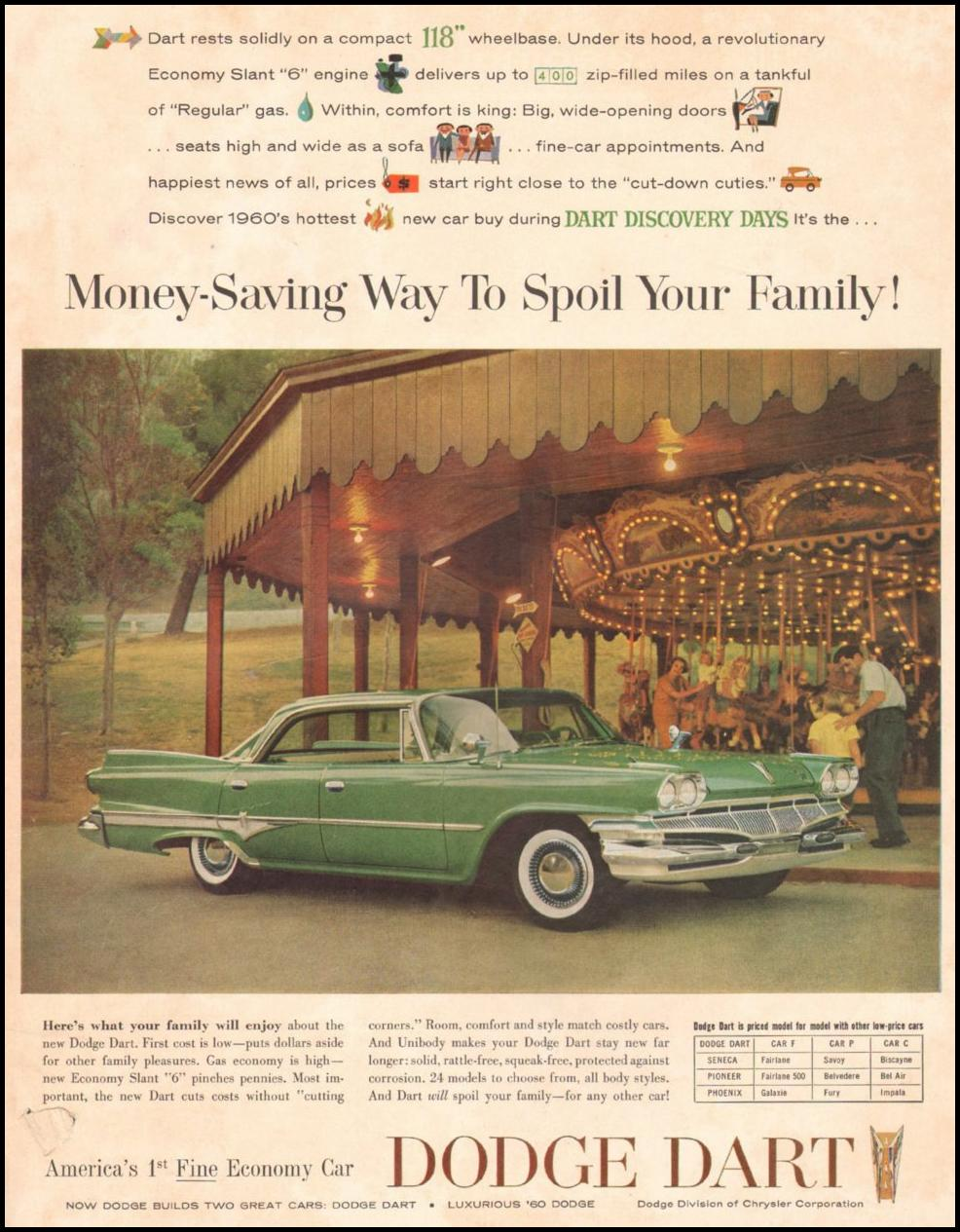 DODGE AUTOMOBILES SATURDAY EVENING POST 06/11/1960 INSIDE BACK
