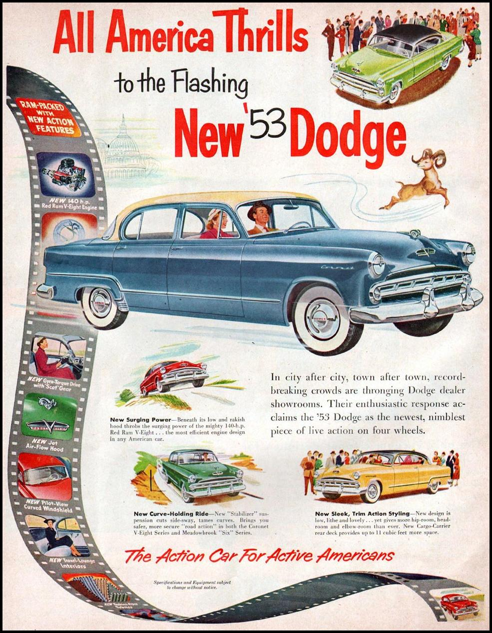 DODGE AUTOMOBILES WOMAN'S HOME COMPANION 12/01/1952 p. 20