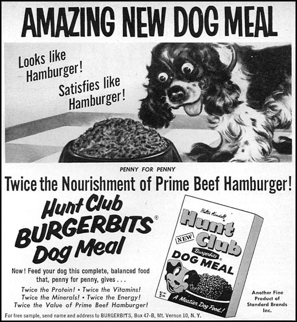 HUNT CLUB BURGERBITS DOG MEAL FAMILY CIRCLE 11/01/1957 p. 87