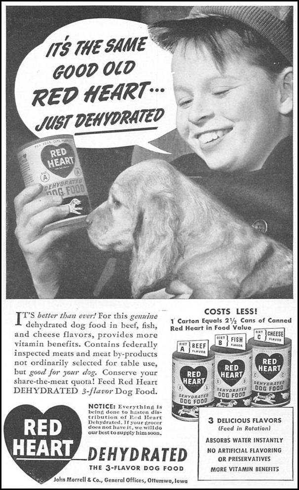RED HEART DEHYDRATED DOG FOOD WOMAN'S DAY 04/01/1943 p. 65