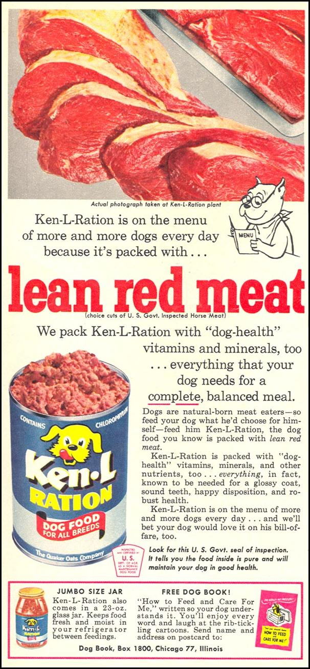 KEN-L-RATION DOG FOOD WOMAN'S DAY 09/01/1955 p. 56