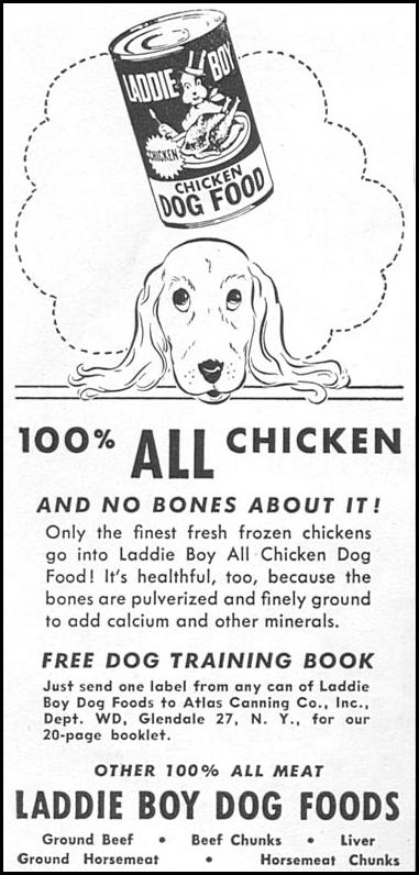 LADDIE BOY DOG FOOD WOMAN'S DAY 09/01/1955 p. 136