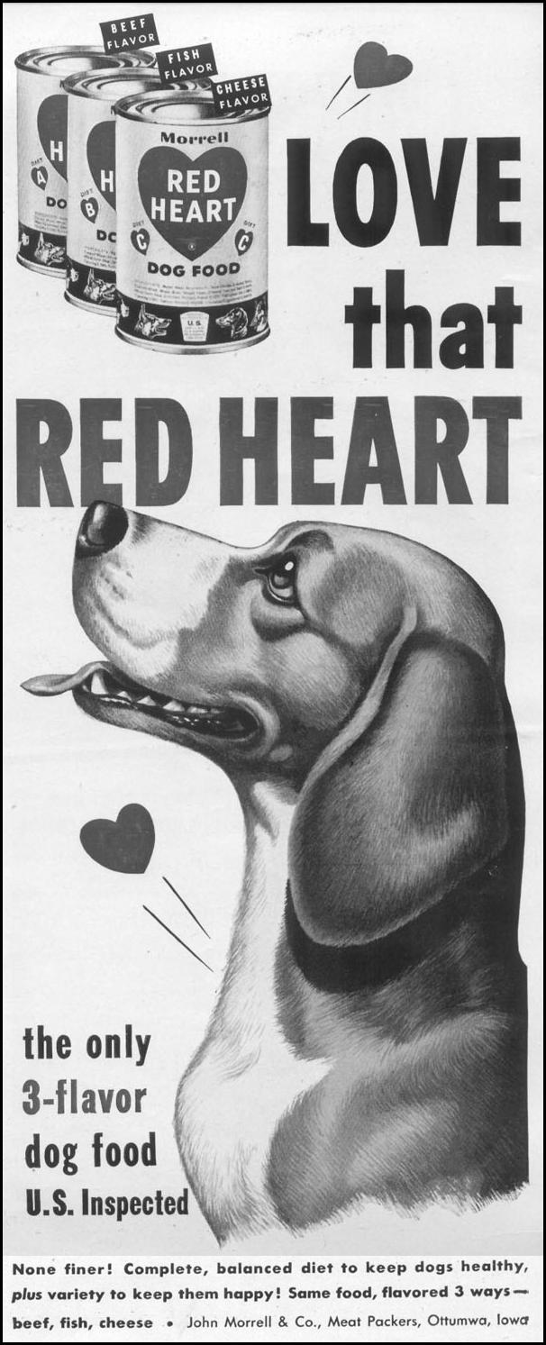 RED HEART 3-FLAVOR DOG FOOD LIFE 10/13/1952 p. 67
