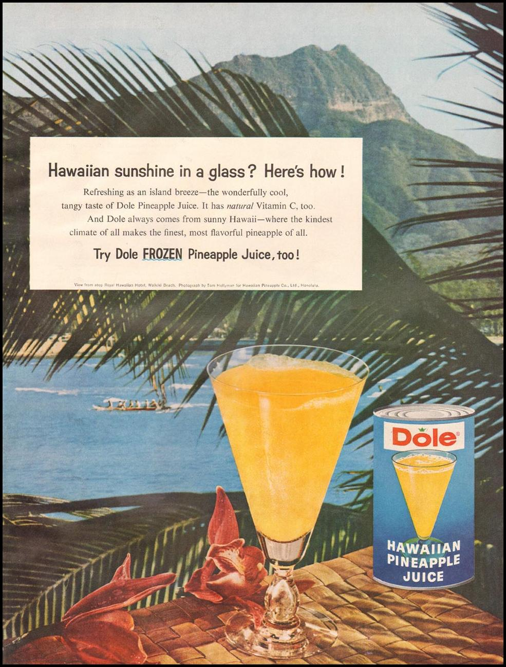 DOLE HAWAIIAN PINEAPPLE JUICE BETTER HOMES AND GARDENS 03/01/1960 p. 105