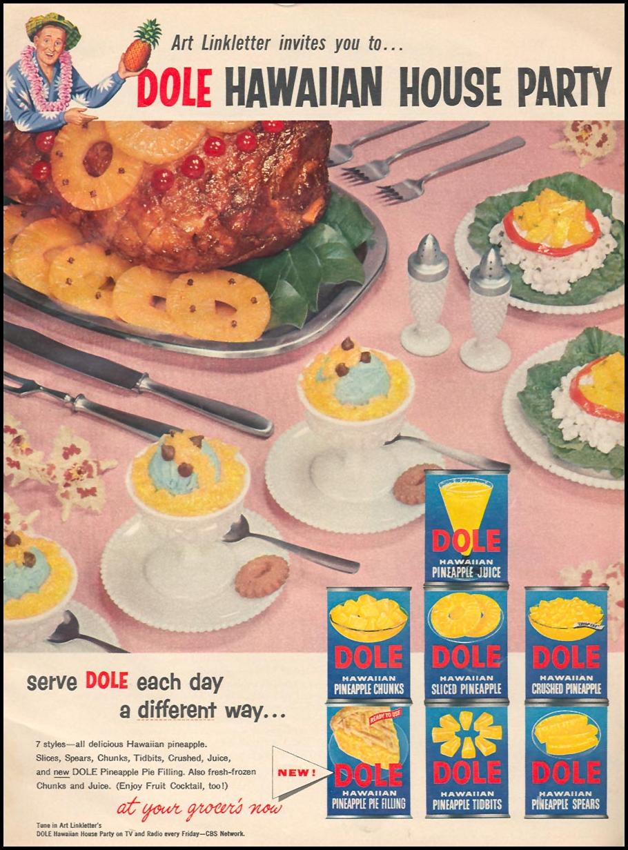 DOLE CANNED PINEAPPLE WOMAN'S DAY 04/01/1956 p. 17
