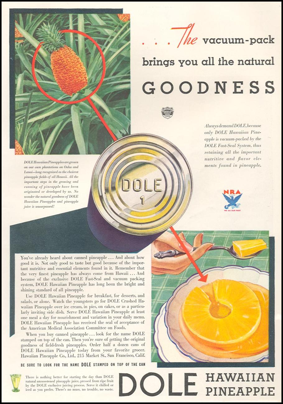 DOLE HAWAIIAN PINEAPPLE GOOD HOUSEKEEPING 12/01/1933 p. 175