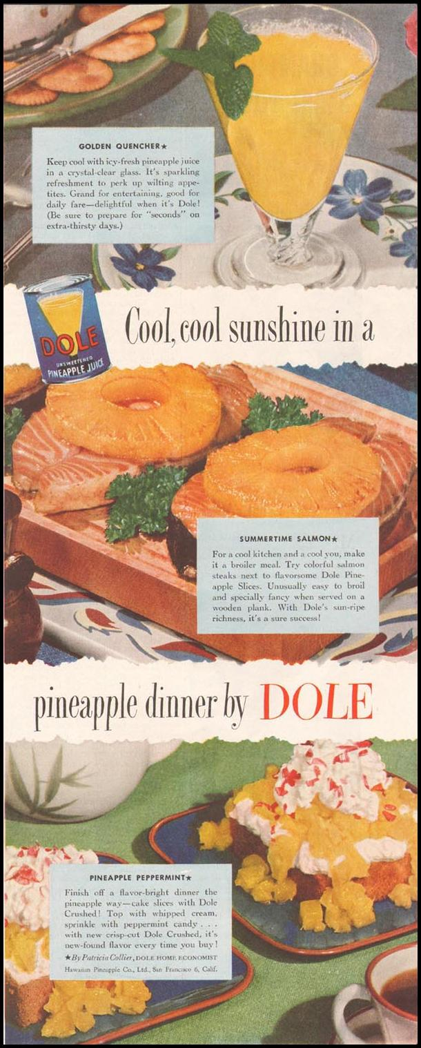 DOLE PINEAPPLE LADIES' HOME JOURNAL 07/01/1949 p. 85