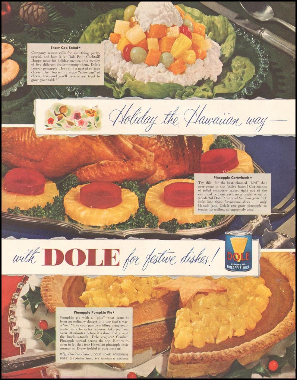 DOLE PINEAPPLE LADIES' HOME JOURNAL 11/01/1950