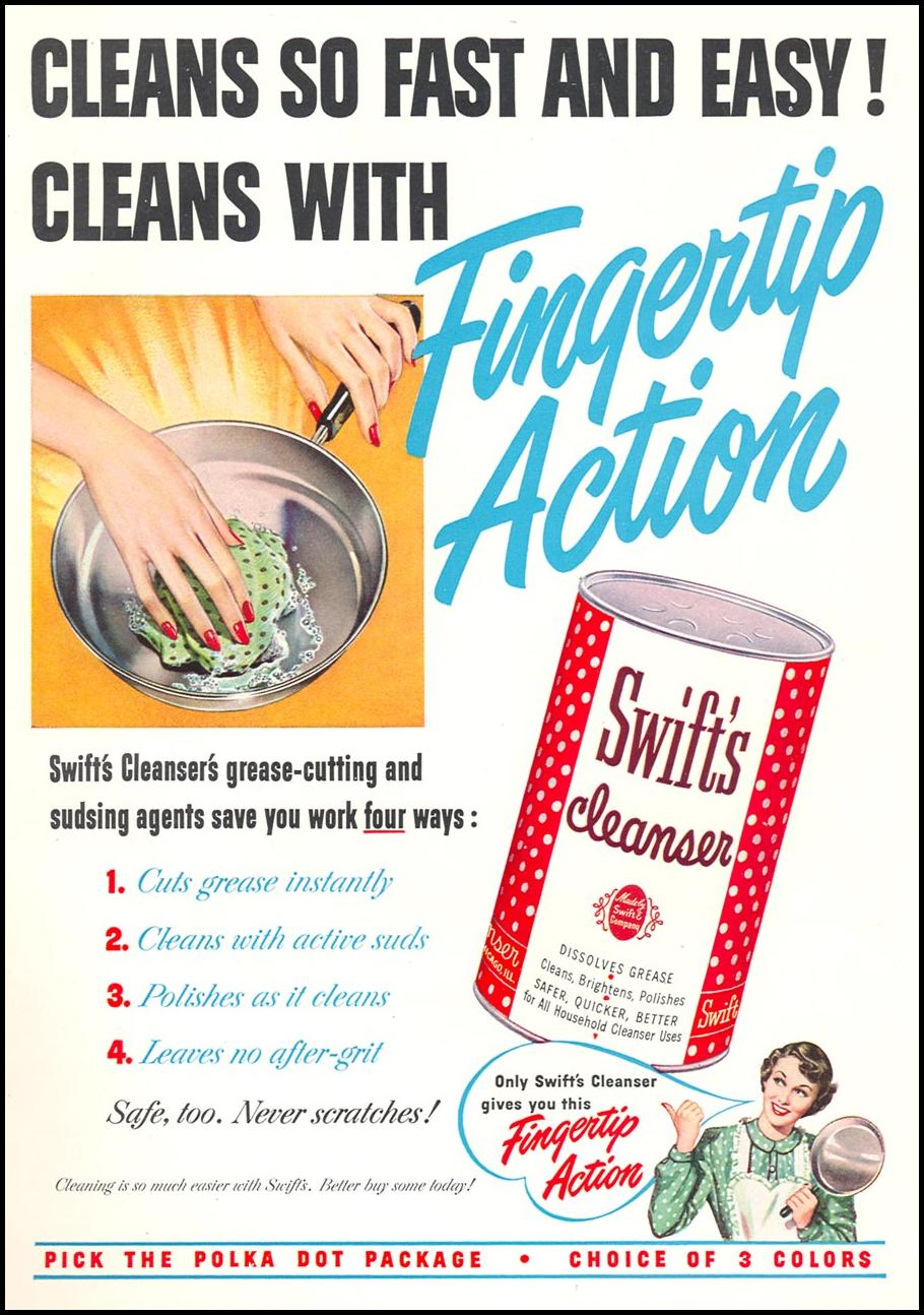 SWIFT'S CLEANSER WOMAN'S DAY 10/01/1949 INSIDE BACK