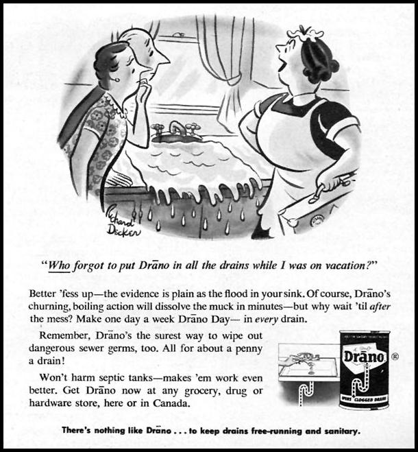 DRANO DRAIN CLEANER FAMILY CIRCLE 01/01/1956 p. 45