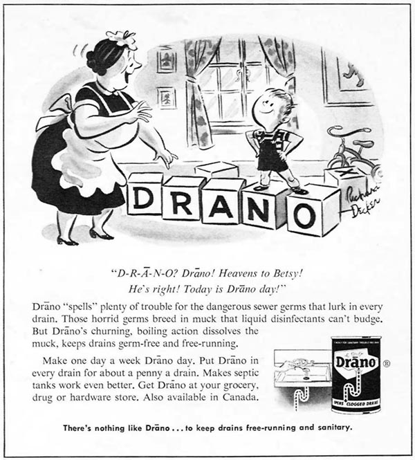 DRANO DRAIN CLEANER WOMAN'S DAY 04/01/1956 p. 100