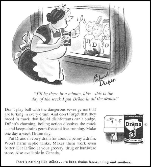 DRANO DRAIN CLEANER WOMAN'S DAY 09/01/1955 p. 70