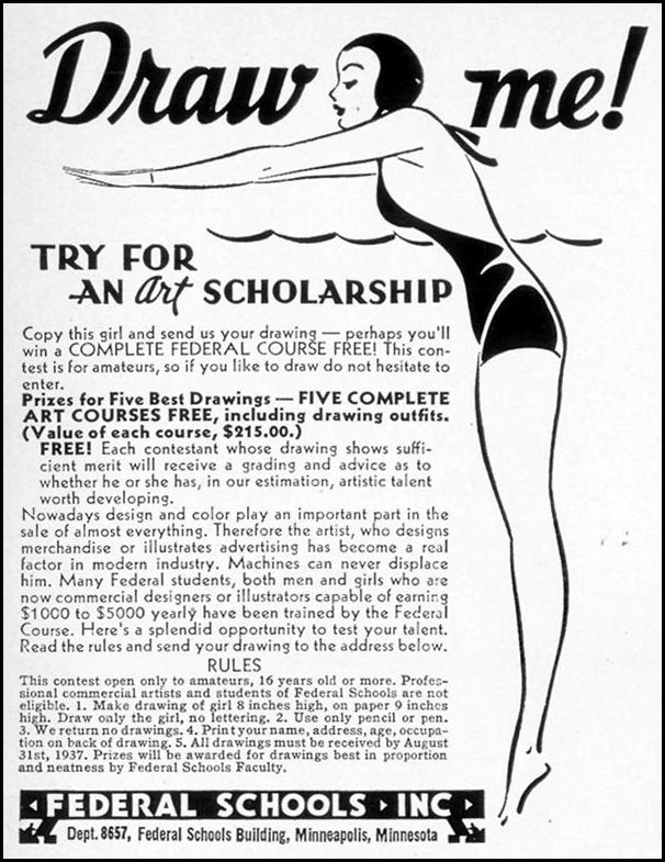 ART SCHOOL SCHOLARSHIP LIFE 08/09/1937 p. 91