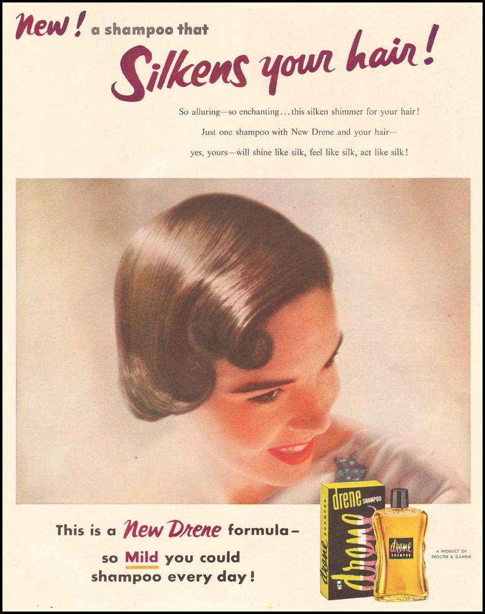 DRENE SHAMPOO LADIES' HOME JOURNAL 07/01/1954 p. 5