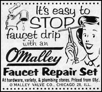 O'MALLEY FAUCET REPAIR KIT GOOD HOUSEKEEPING 05/01/1957 p. 275