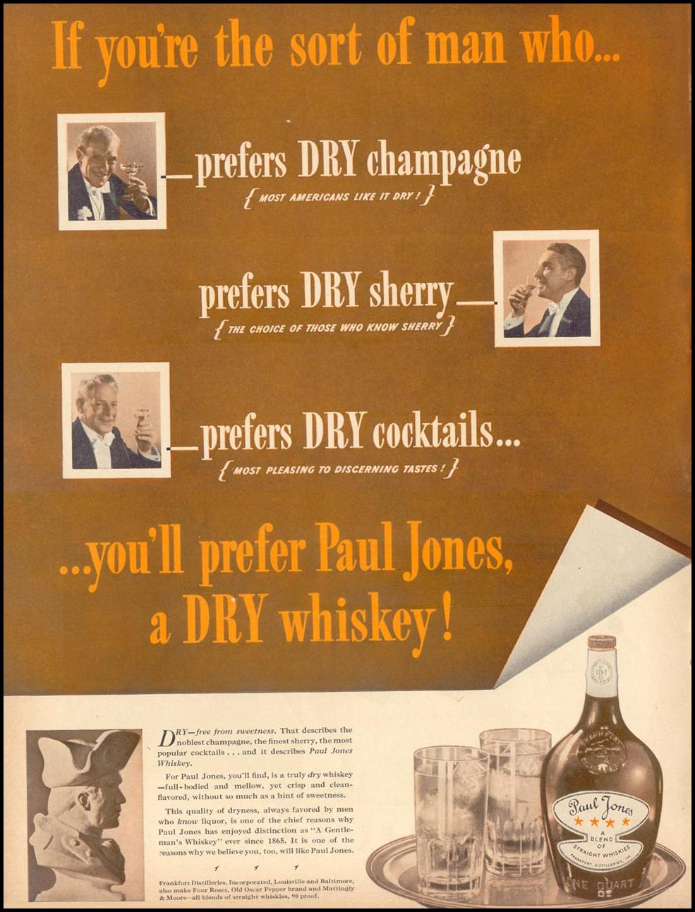 PAUL JONES DRY WHISKEY LIFE 09/13/1937