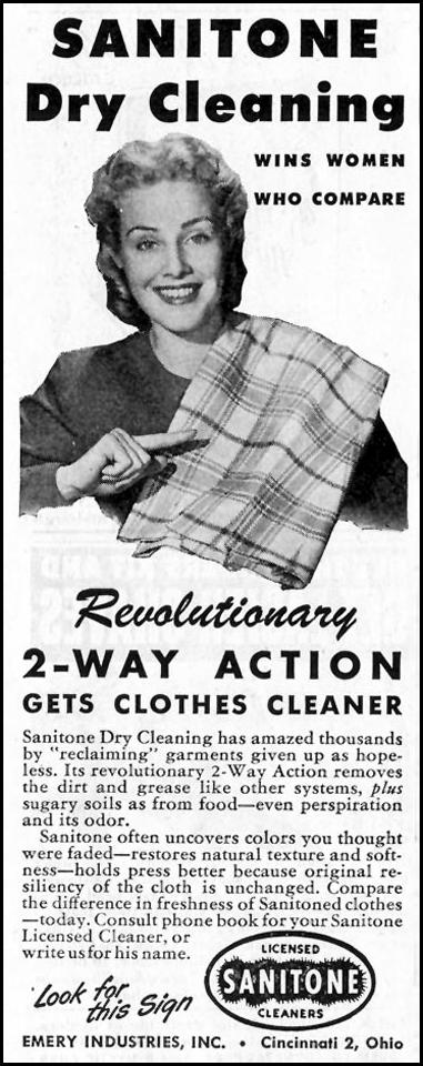 SANITONE DRY CLEANING SATURDAY EVENING POST 10/06/1945 p. 108