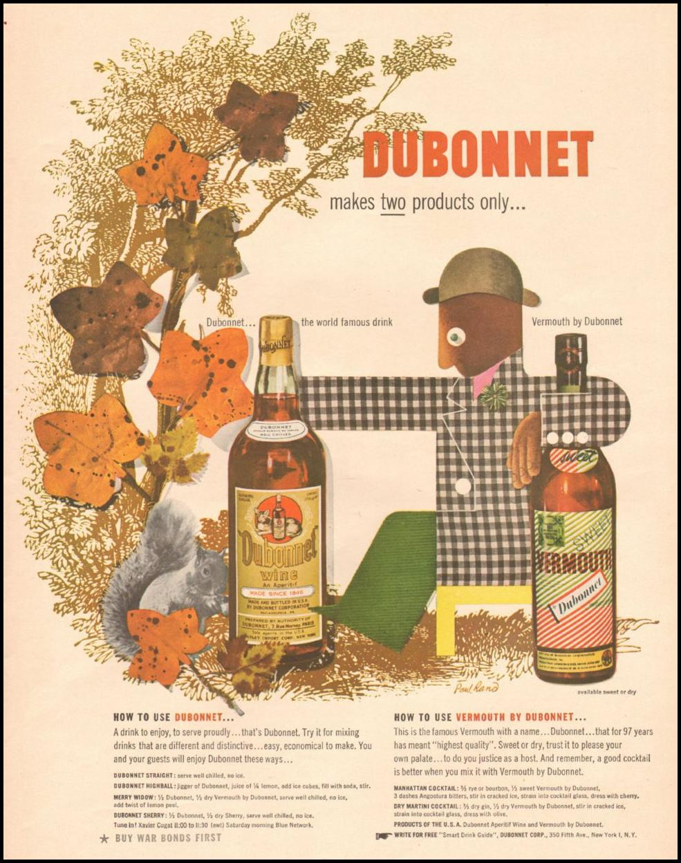 DUBONNET WINE AND VERMOUTH LIFE 10/25/1943