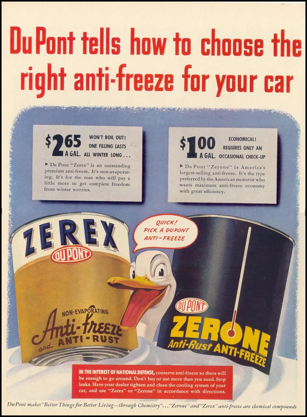 DU PONT ZEREX AND ZERONE ANTI-FREEZE LIFE 10/13/1941