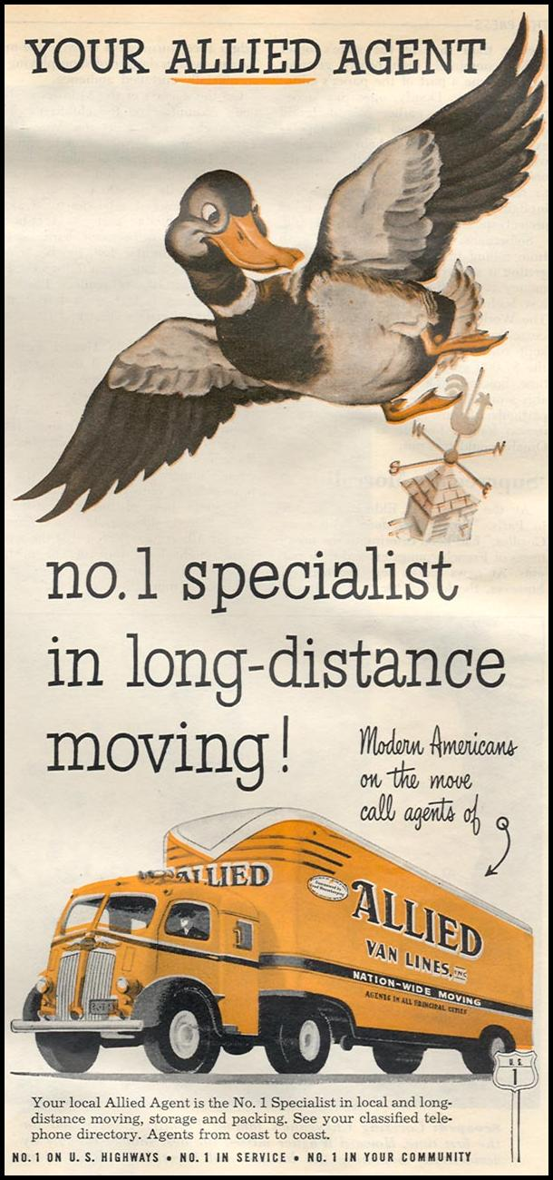 MOVING SERVICES NEWSWEEK 08/20/1951 p. 55