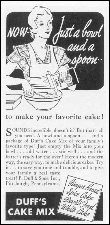 DUFF'S CAKE MIX WOMAN'S DAY 03/01/1939 p. 44