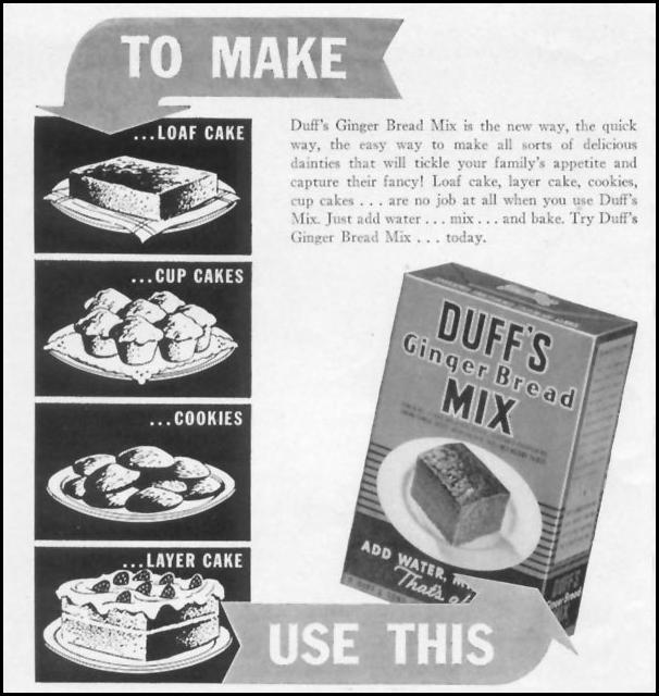 DUFF'S GINGERBREAD MIX WOMAN'S DAY 04/01/1941 p. 46