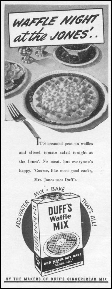 DUFF'S WAFFLE MIX WOMAN'S DAY 05/01/1943 p. 78