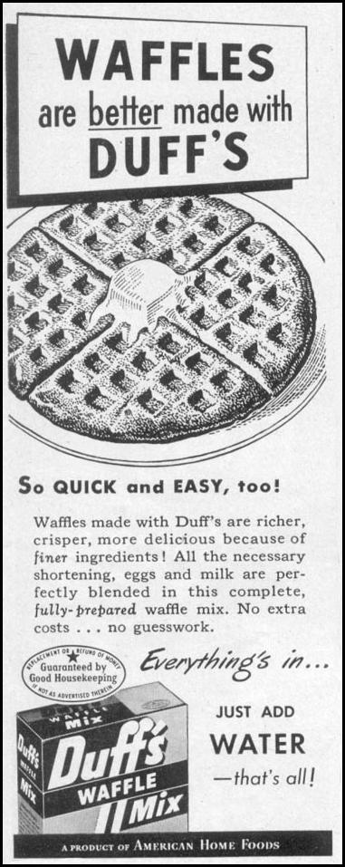 DUFF'S WAFFLE MIX WOMAN'S DAY 05/01/1947 p. 116