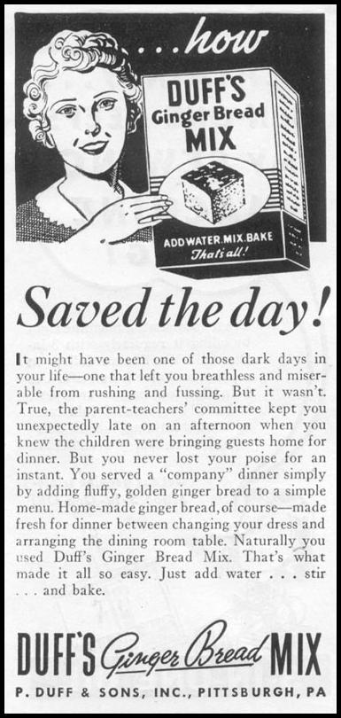DUFF'S GINGERBREAD MIX WOMAN'S DAY 06/01/1939 p. 50