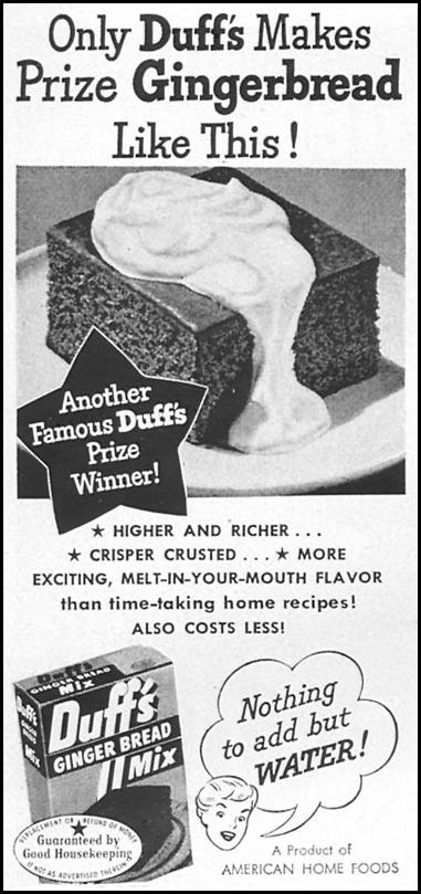 DUFF'S GRINGERBREAD MIX WOMAN'S DAY 06/01/1950 p. 112