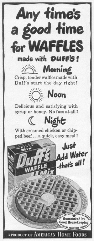 DUFF'S WAFFLE MIX WOMAN'S DAY 10/01/1949 p. 134