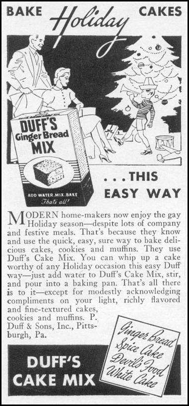 DUFF'S CAKE MIX WOMAN'S DAY 12/01/1939 p. 44
